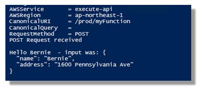 Invoking Lambda through the AWS API Gateway with PowerShell