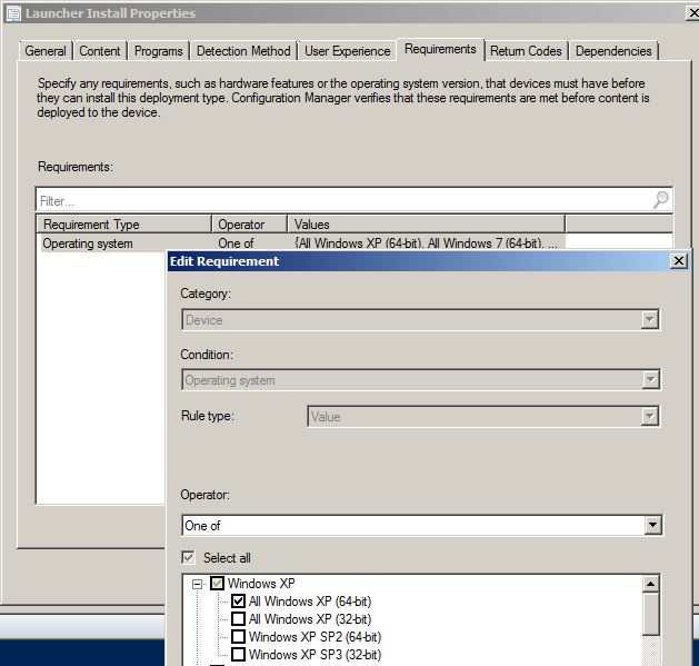 Application Requirements Properties View