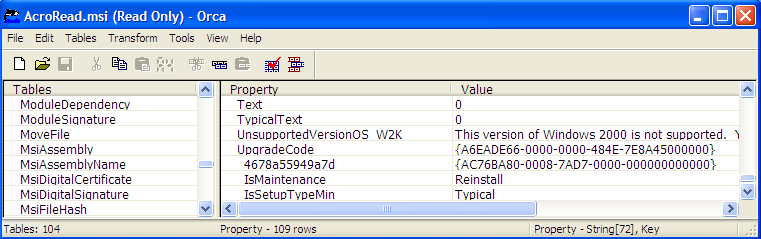 Text Box:  Upgrade Code shown in the Property Table